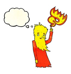 Cartoon fire spirit with thought bubble vector