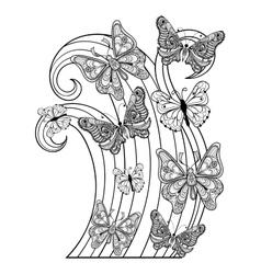 Zentangle flying Butterflies for adult anti vector image