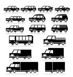 Car types icons vector