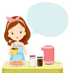 Girl Making Coffee With Talk Bubble vector image