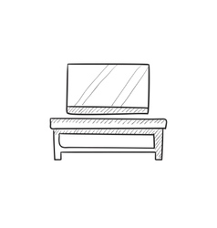 Flat screen tv on modern stand sketch icon vector
