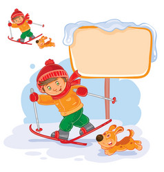 a little boy skiing vector image vector image