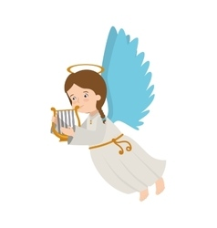 Angel harp lyre play musical instrument icon vector