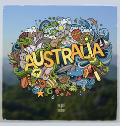 Australia hand lettering and doodles elements and vector