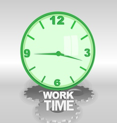 Big green 3d clock with work time text vector
