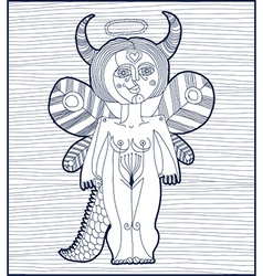 Black and white of mythic creature nude wom vector