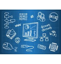 Blueprint of computer hardware vector image