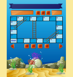 Boardgame template with underwater scene vector