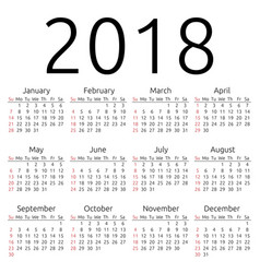 Calendar 2018 sunday vector