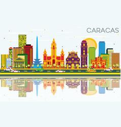 Caracas skyline with color buildings blue sky and vector