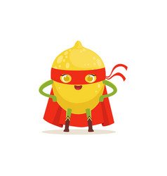 cartoon character of superhero lemon with arms vector image