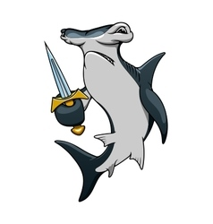 Cartoon hammerhead shark pirate with sword vector image