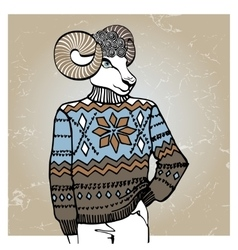 Cartoon sheep in Jacquard sweaterWinter fashion vector image vector image