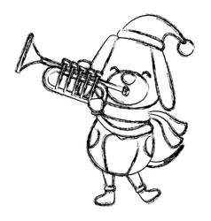 Christmas dog with trumpet cartoon vector