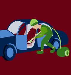 cleaning car interior worker vector image