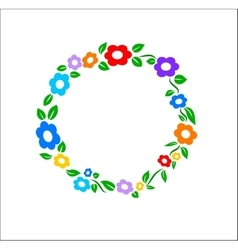 Colored vintage Flower ring frame decoration vector image
