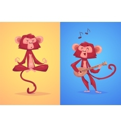 comical monkey series vector image vector image