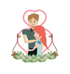 Couple embracing love heart floral vector