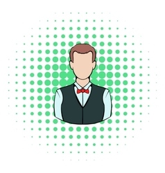 Croupier icon comics style vector