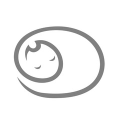 cute sleeping cat symbol icon vector image vector image