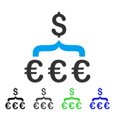 Euro dollar conversion aggregator flat icon vector