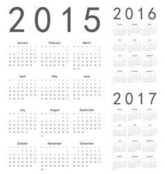 European 2015 2016 2017 year calendars vector image vector image