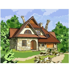 Fabulous stone house vector