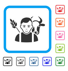 Farmer framed happiness icon vector