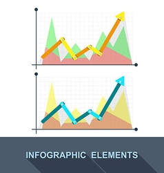 flat Business graph and chart on grey background vector image