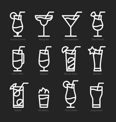 flat icon design cocktails icons isolated vector image vector image
