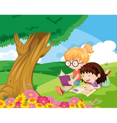 girls at park vector image vector image