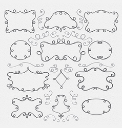 Hand drawn vintage frames and swirls vector image