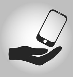 Icon hand holding smartphone isolated vector