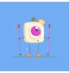 One-eyed square white monster on skis in winter vector
