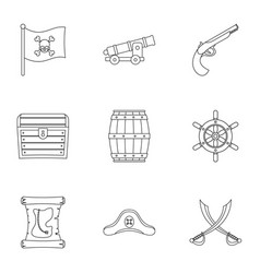 Pirates adventure icon set outline style vector