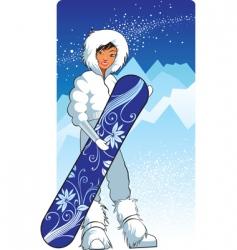 pretty snowboarder vector image vector image