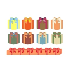 set of gift boxes in different colors vector image vector image