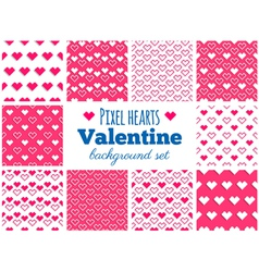 Set of seamless pixel art heart patterns vector