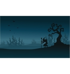 Silhouette of spruce fores and witch Halloween vector image vector image