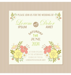Spring floral wedding invitation card vector