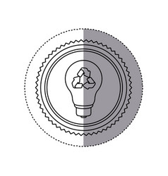 Sticker monochrome of circular frame with bulb vector