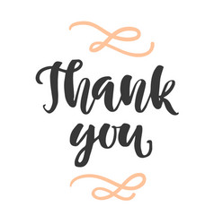 Thank you ink lettering isolated on white vector