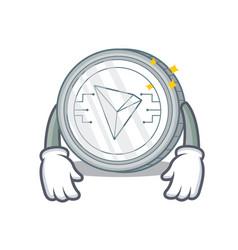 Tired tron coin character cartoon vector
