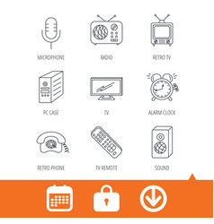 Tv remote retro phone and radio icons vector