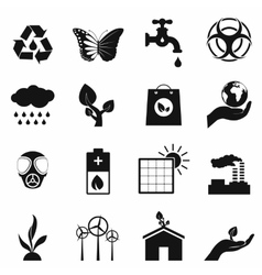 Universal ecology black icons set vector
