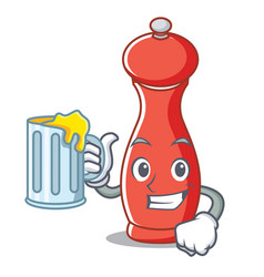 With juice pepper mill character cartoon vector
