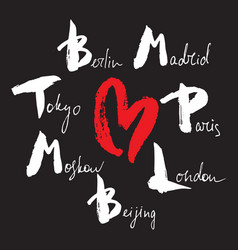World capitals lettering with heart vector