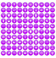 100 bbq icons set purple vector