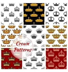 Royal king crown patterns set vector
