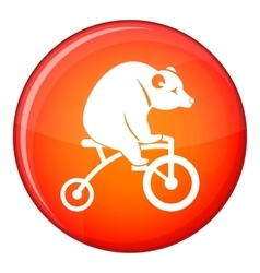 Bear on a bike icon flat style vector
